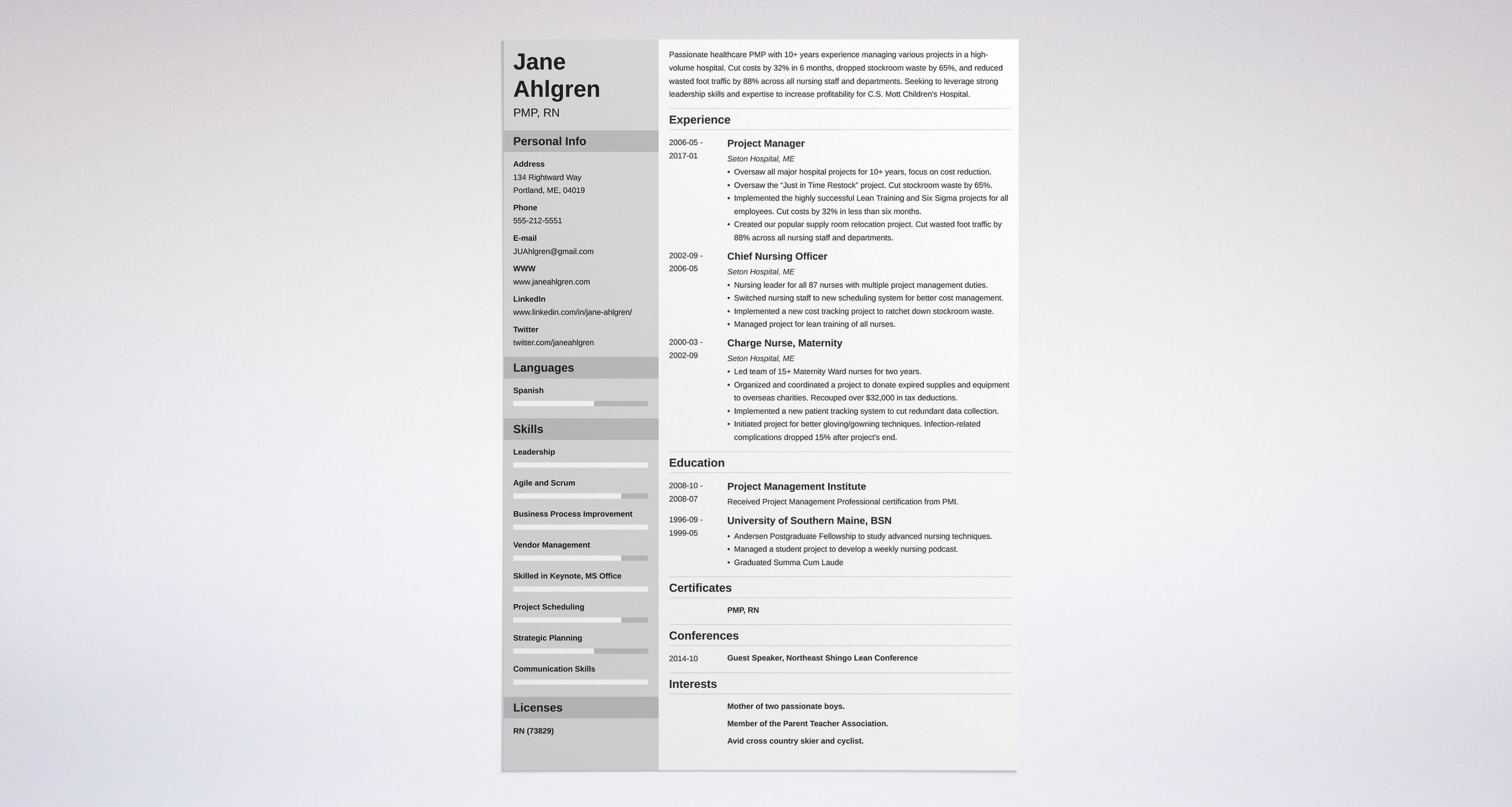 project manager resume sample complete guide 20 examples - Resume Template For Project Manager