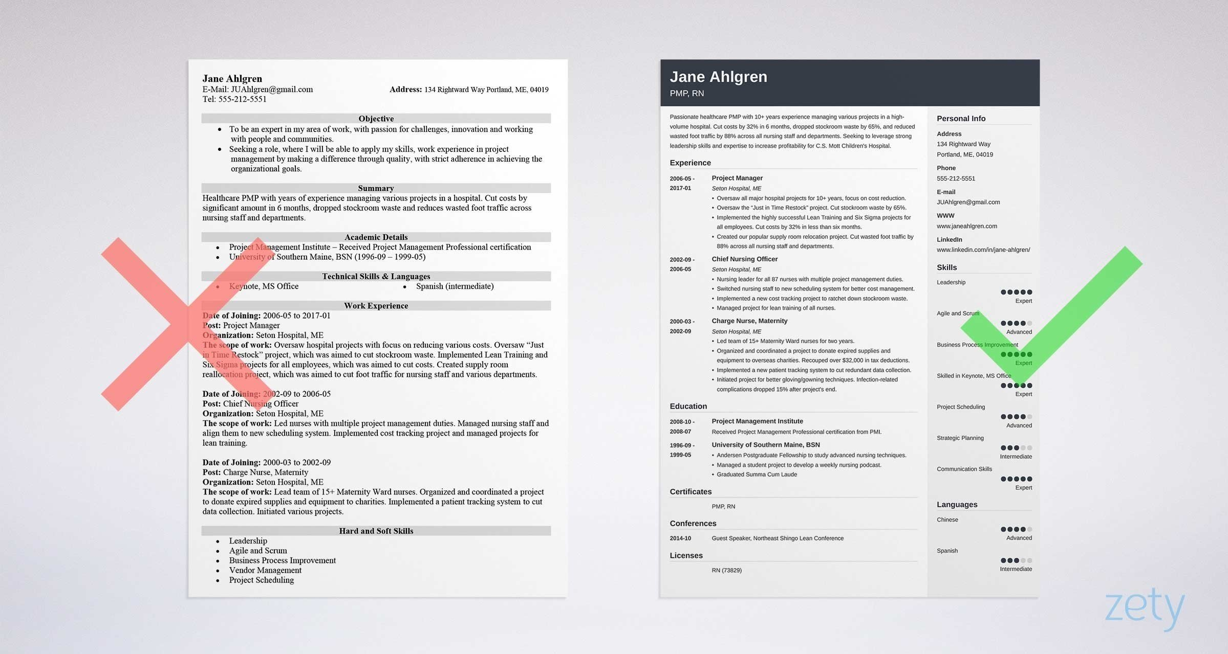 resume for a project manager