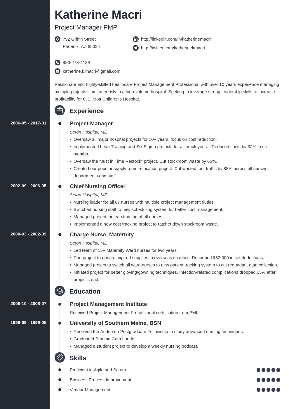 project manager resume template concept