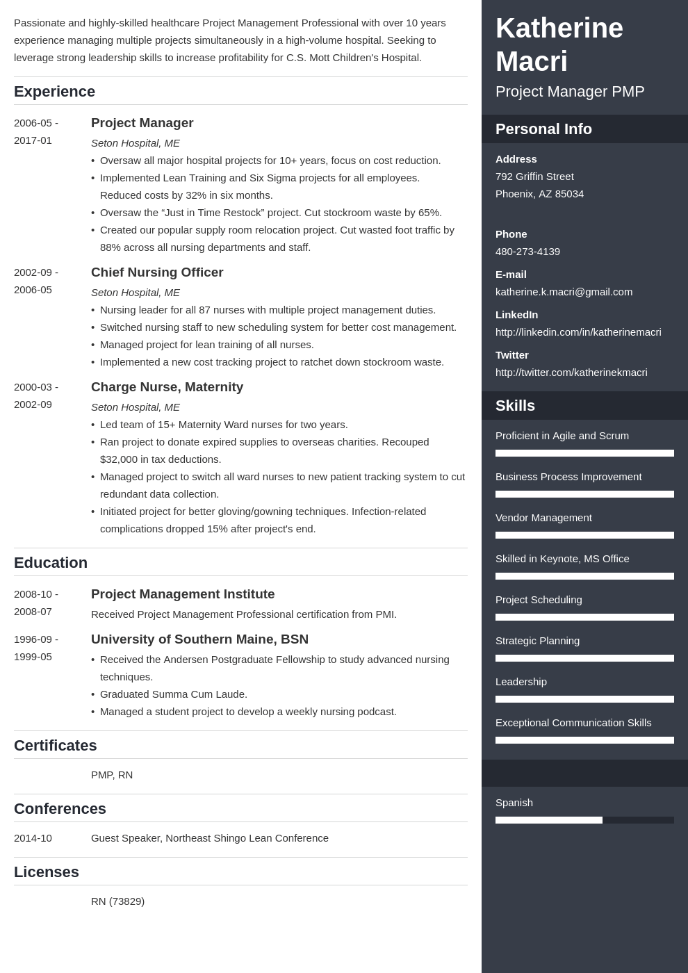 project manager resume template enfold