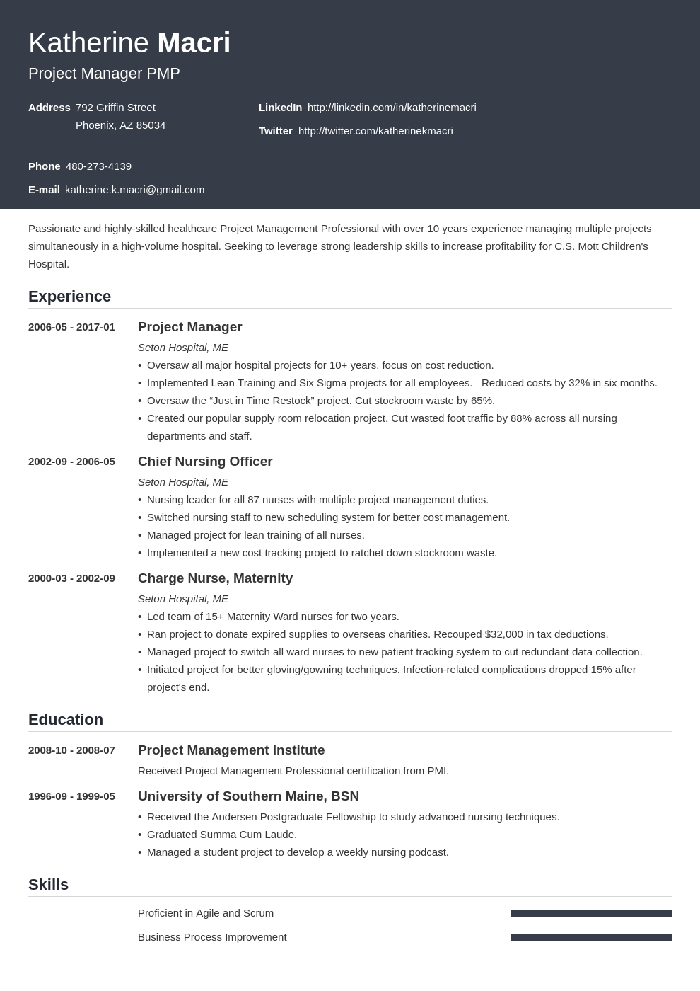 project manager resume template influx