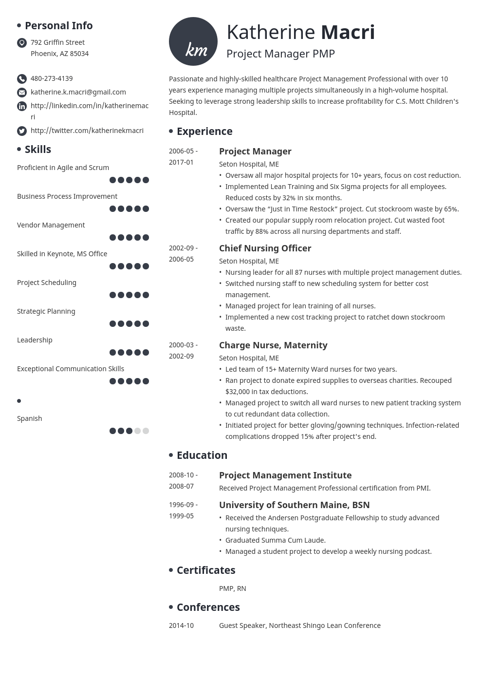 project manager resume template initials