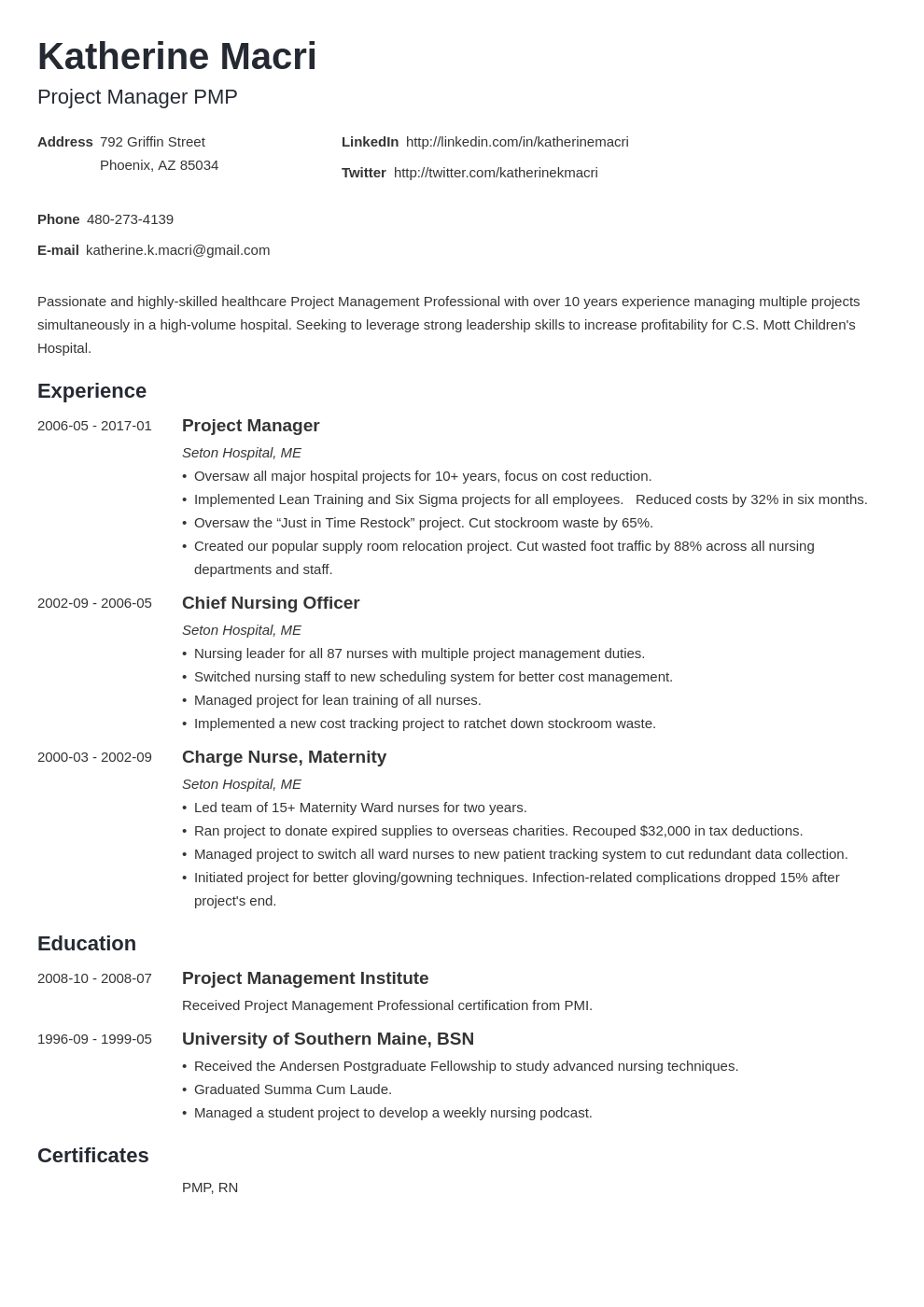 project manager resume template minimo