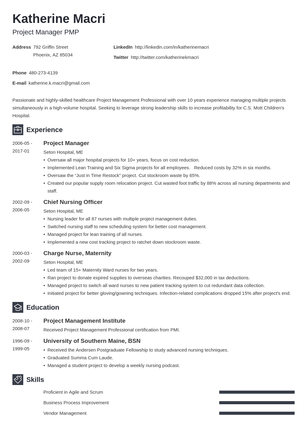 project manager resume template newcast