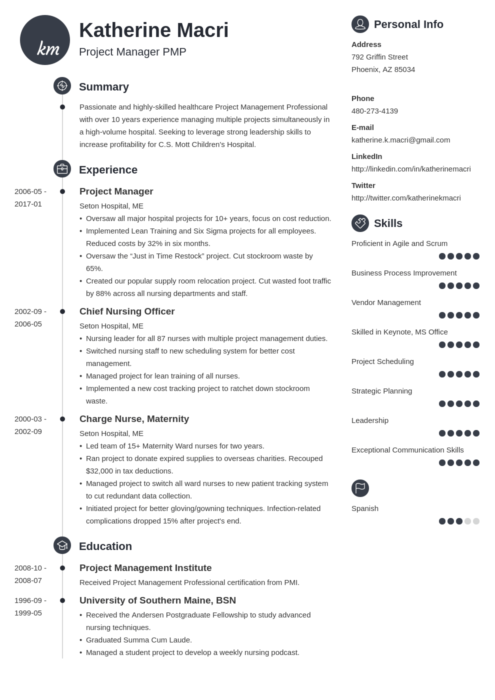 project manager resume template primo