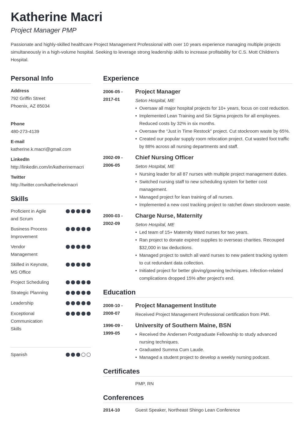 project manager resume template simple
