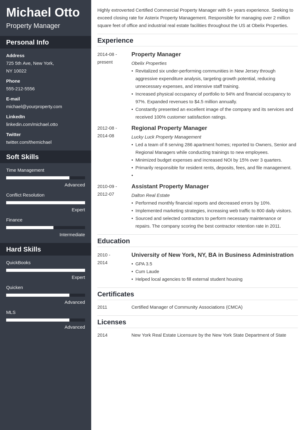 property manager resume example template cascade
