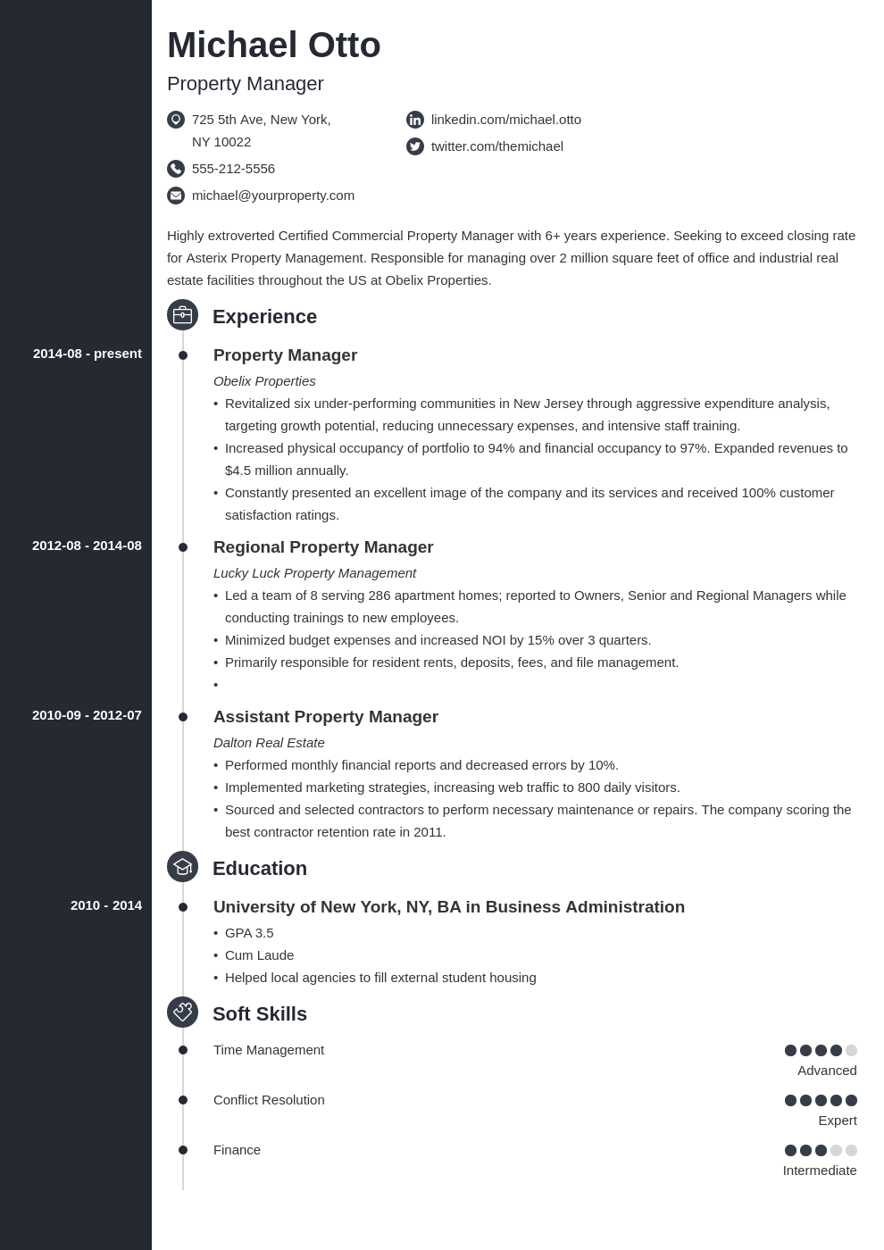 property manager resume example template concept