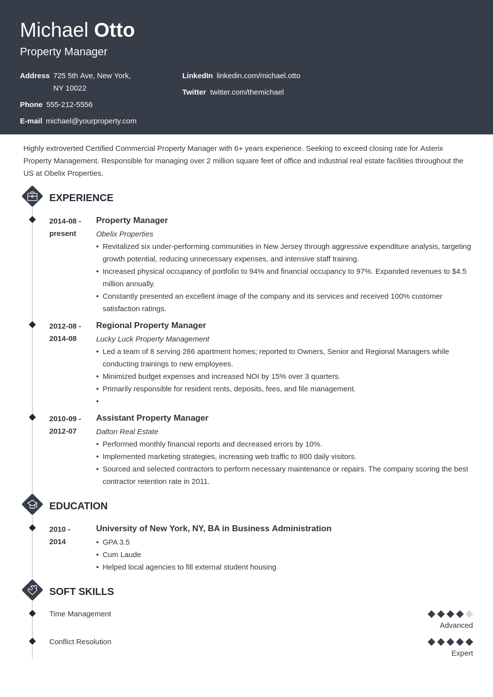 property manager resume example template diamond