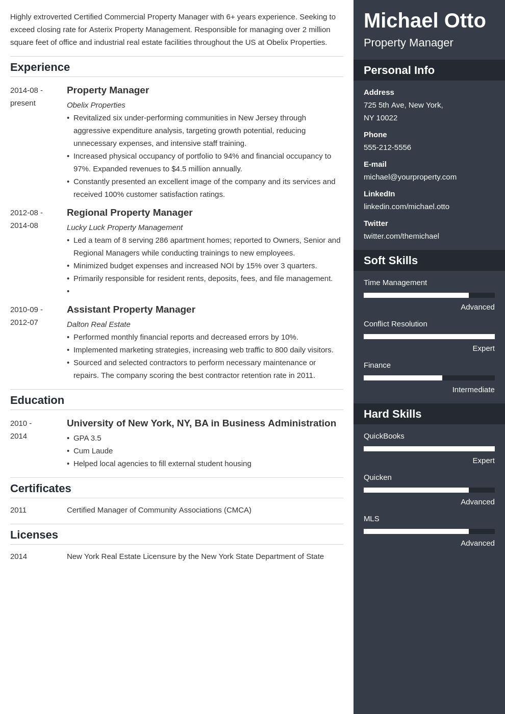 property manager resume example template enfold