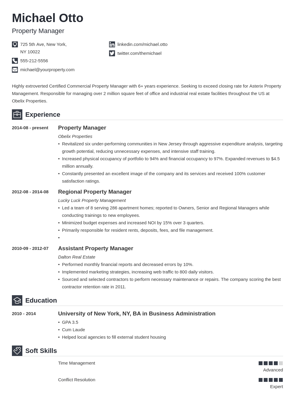 property manager resume example template iconic