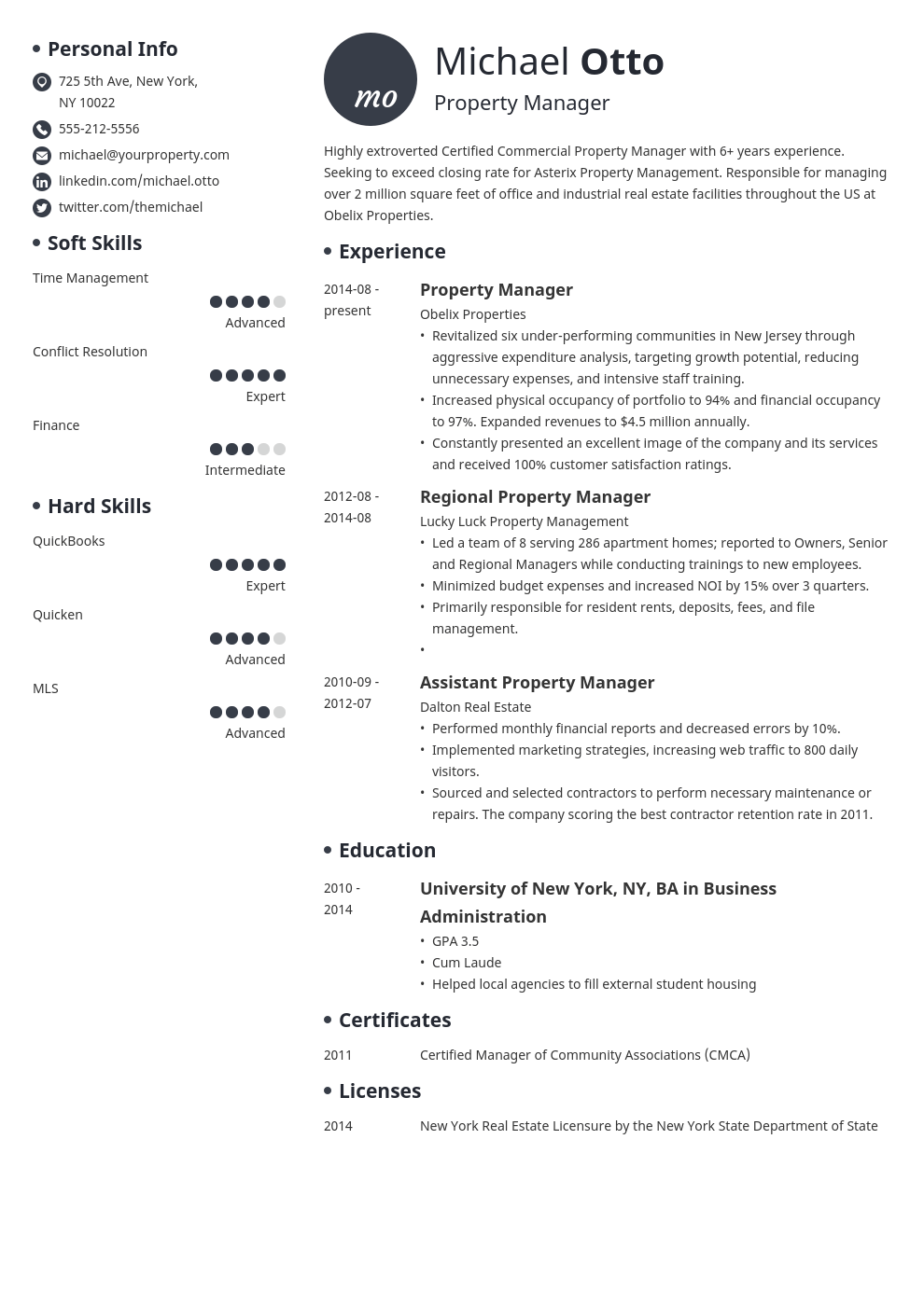 property manager resume example template initials