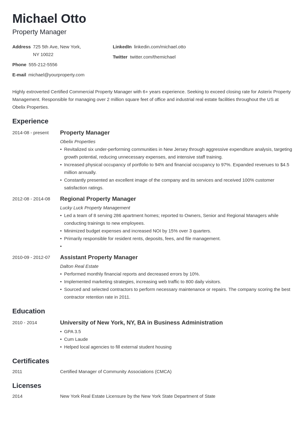 property manager resume example template minimo