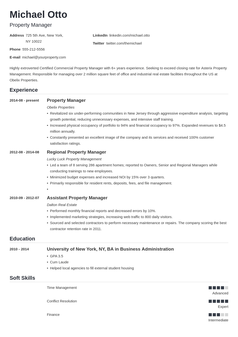 property manager resume example template nanica