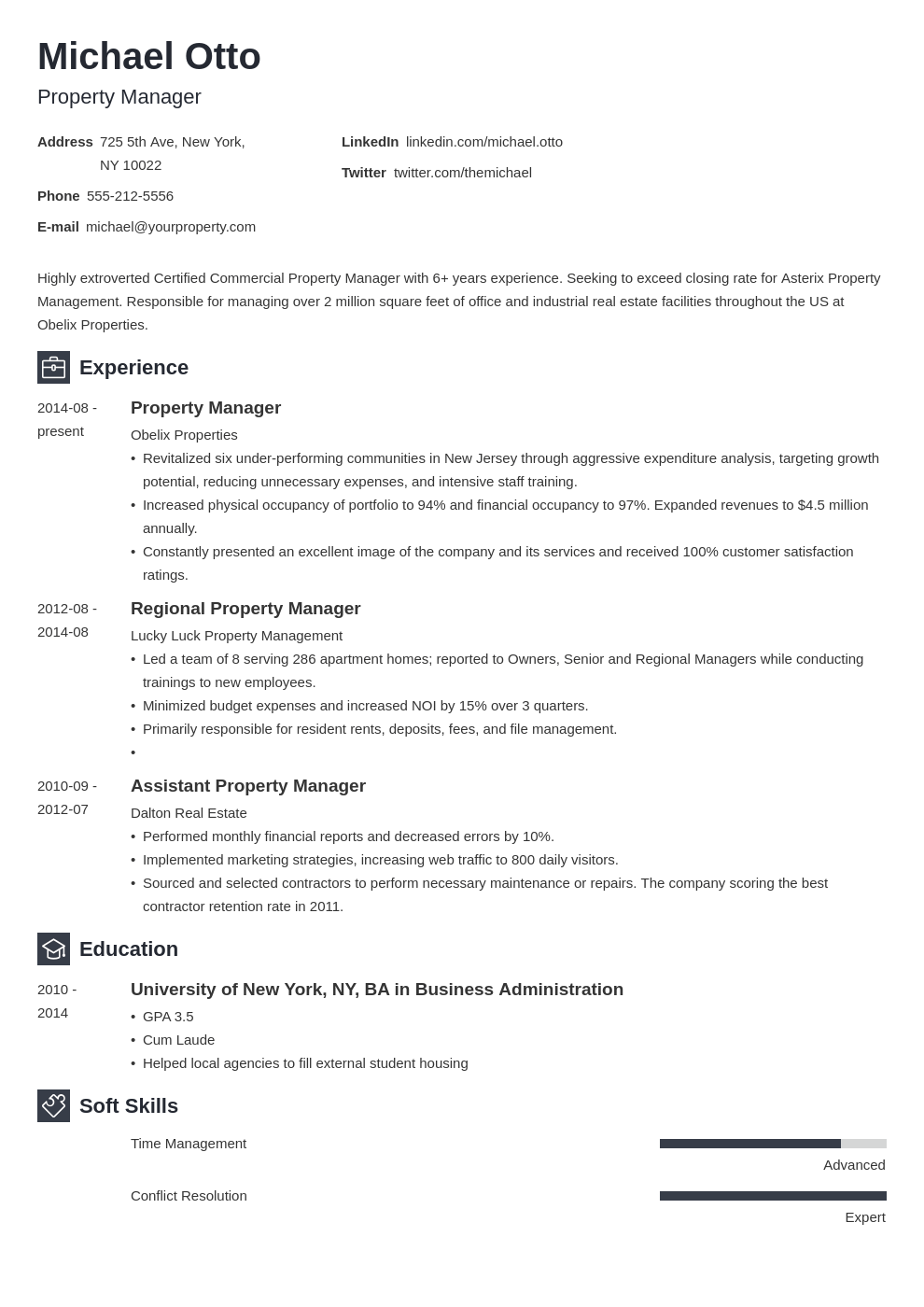 property manager resume example template newcast