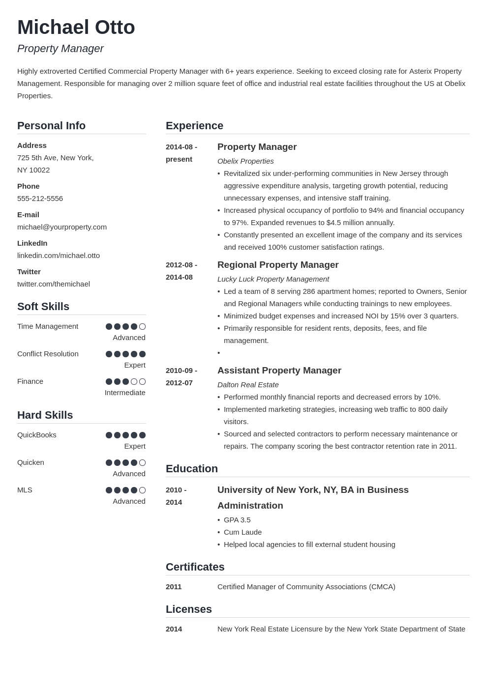 property manager resume example template simple