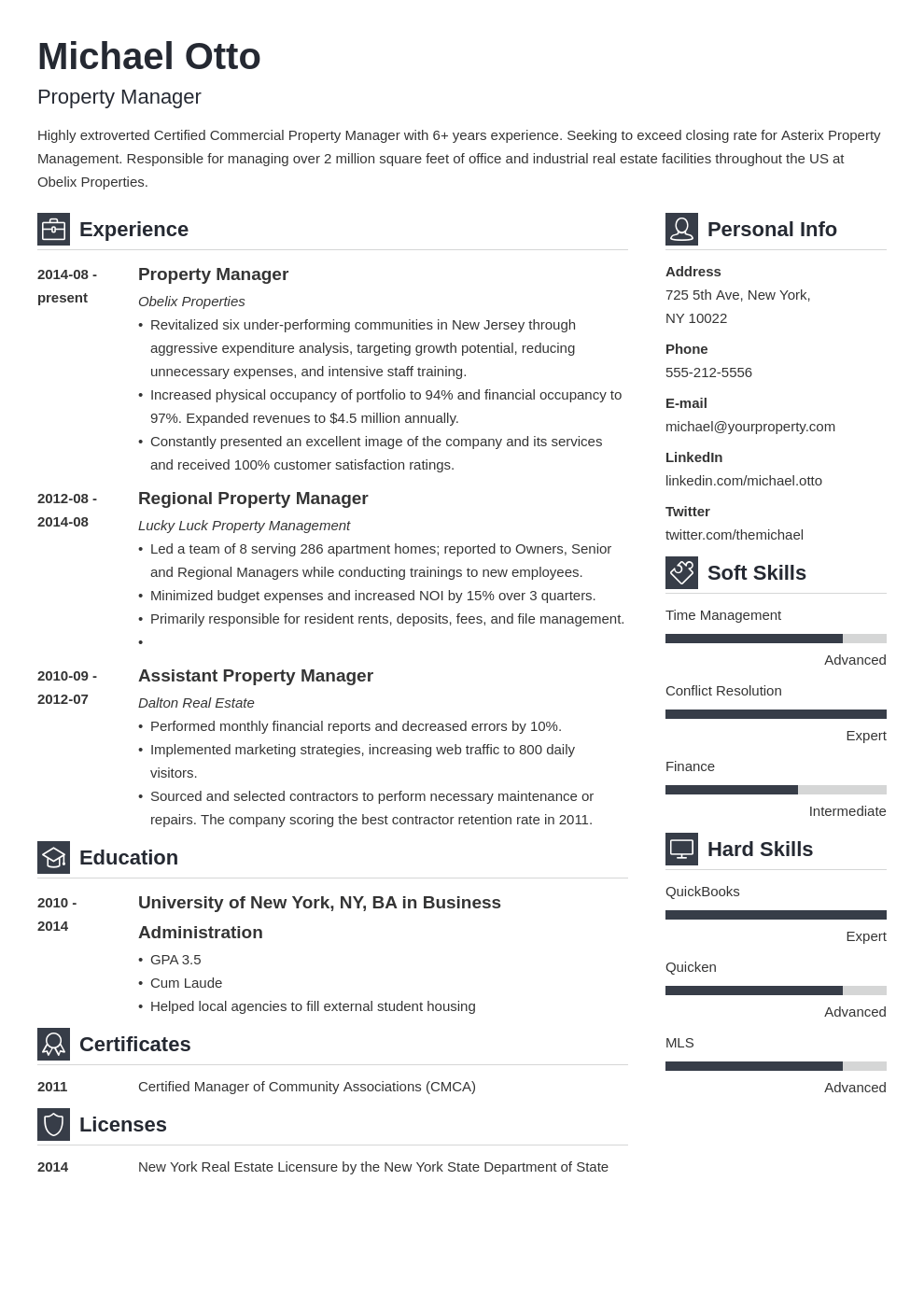 property manager resume example template vibes