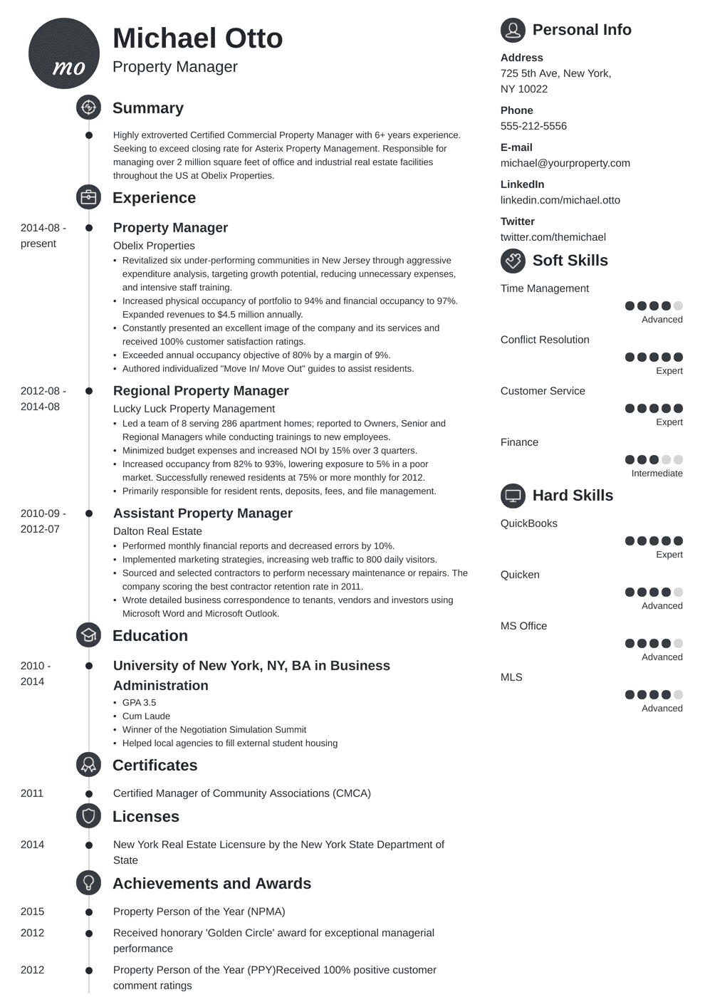 Property Manager Resume Sample Complete Guide 20 Examples