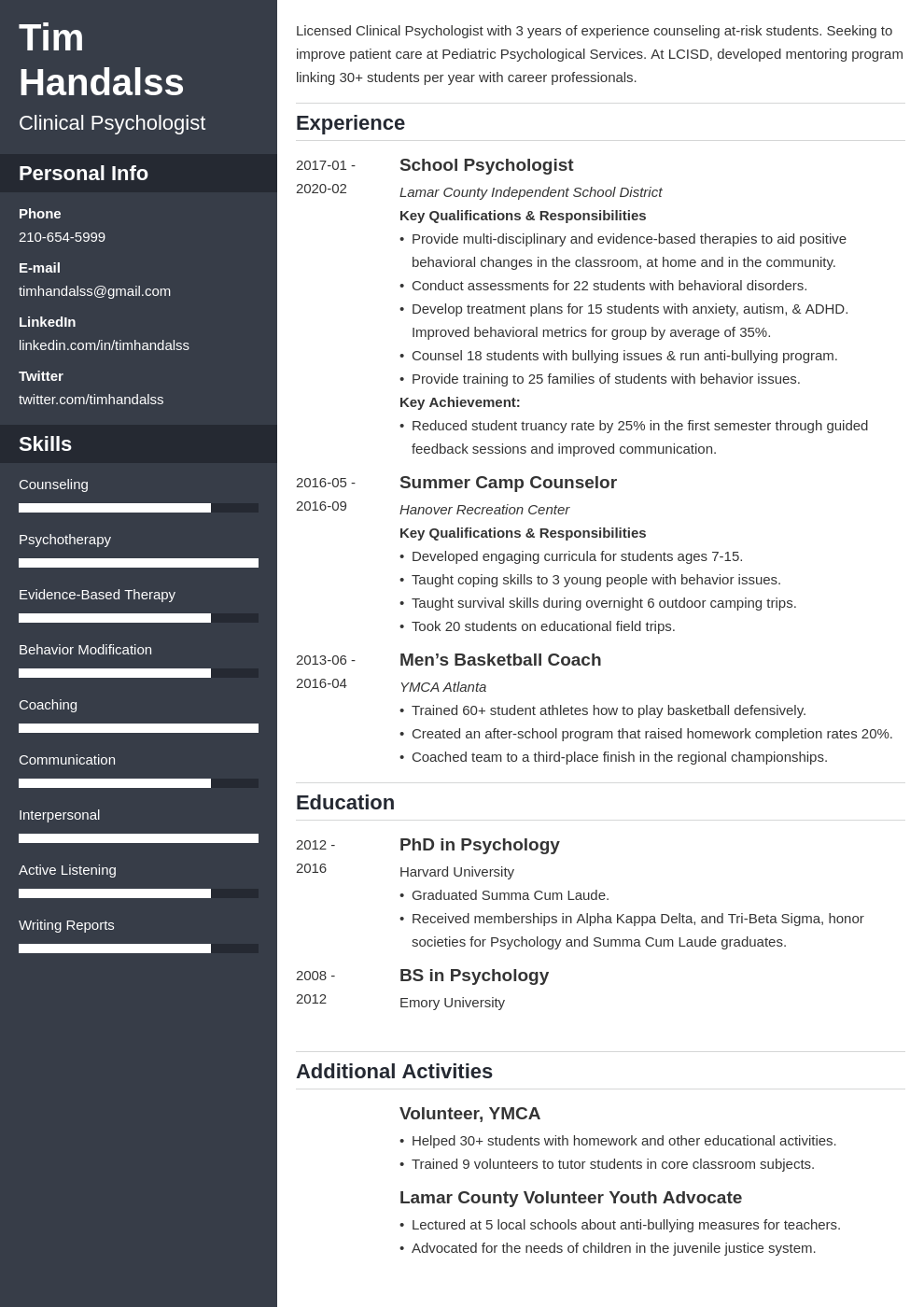 psychology resume example template cascade