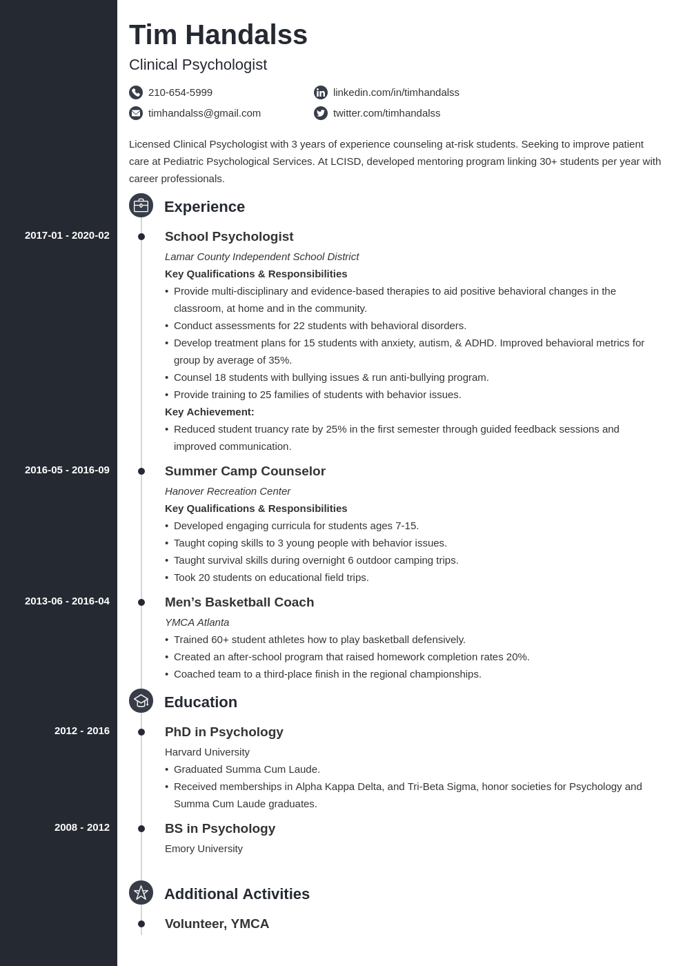 psychology resume example template concept