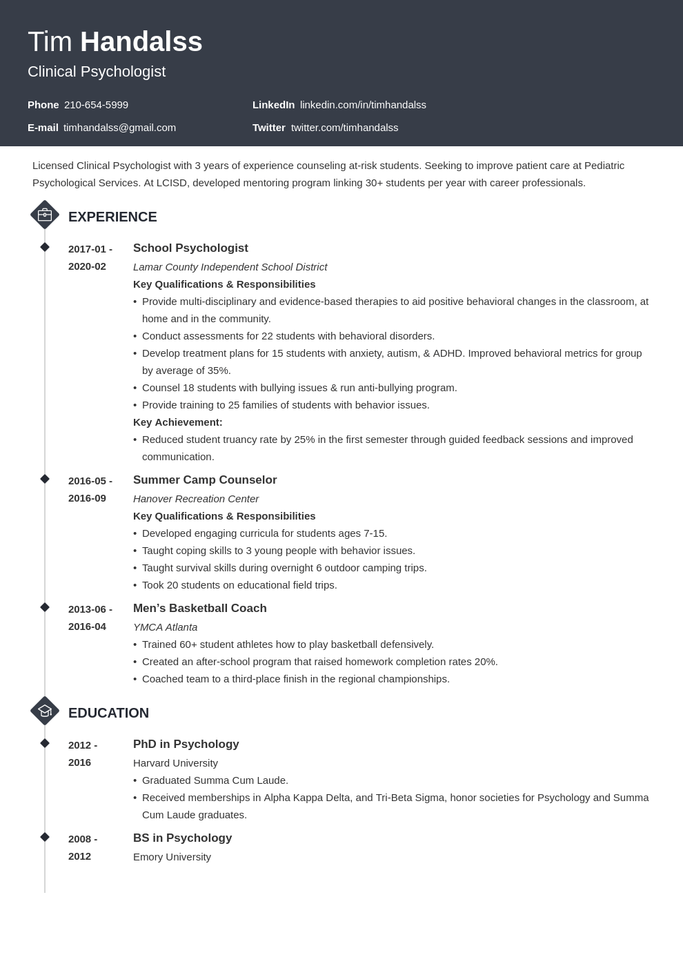 psychology resume example template diamond