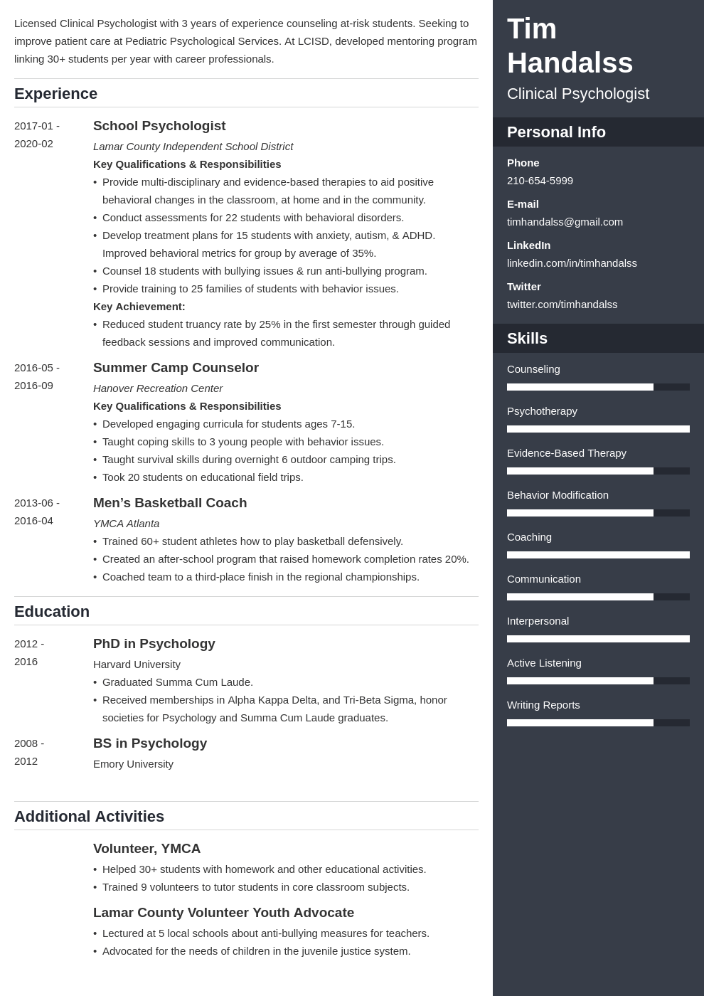 psychology resume example template enfold