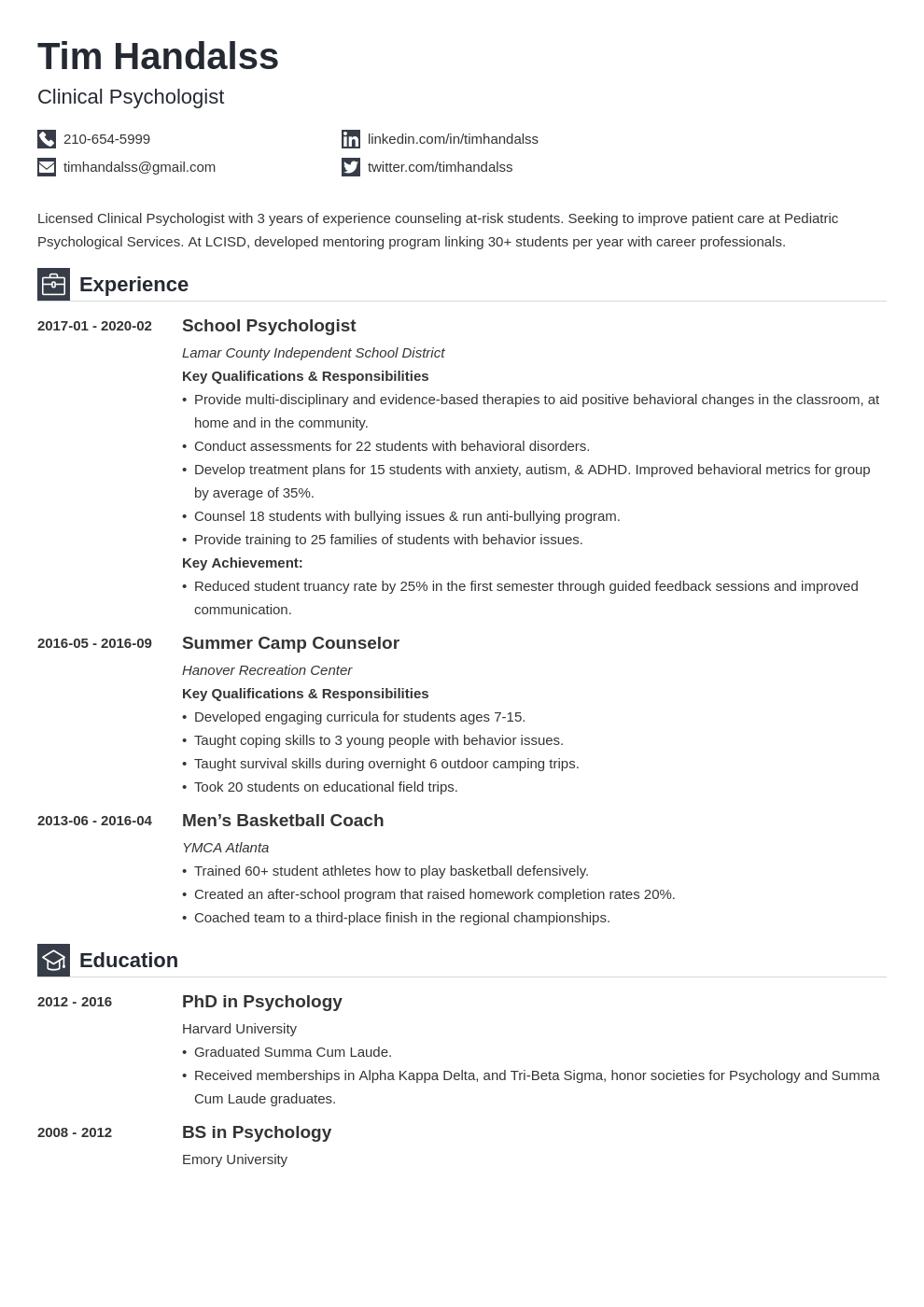 psychology resume example template iconic