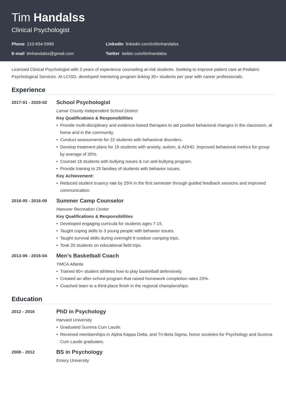 psychology resume examples  skills  summary  u0026 objective