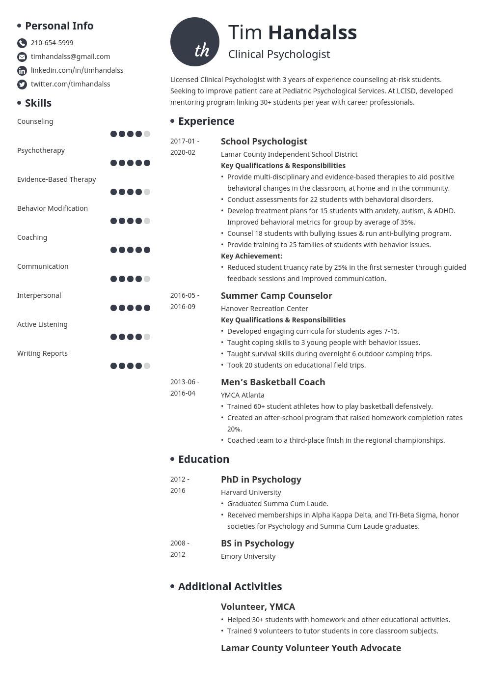 psychology resume example template initials