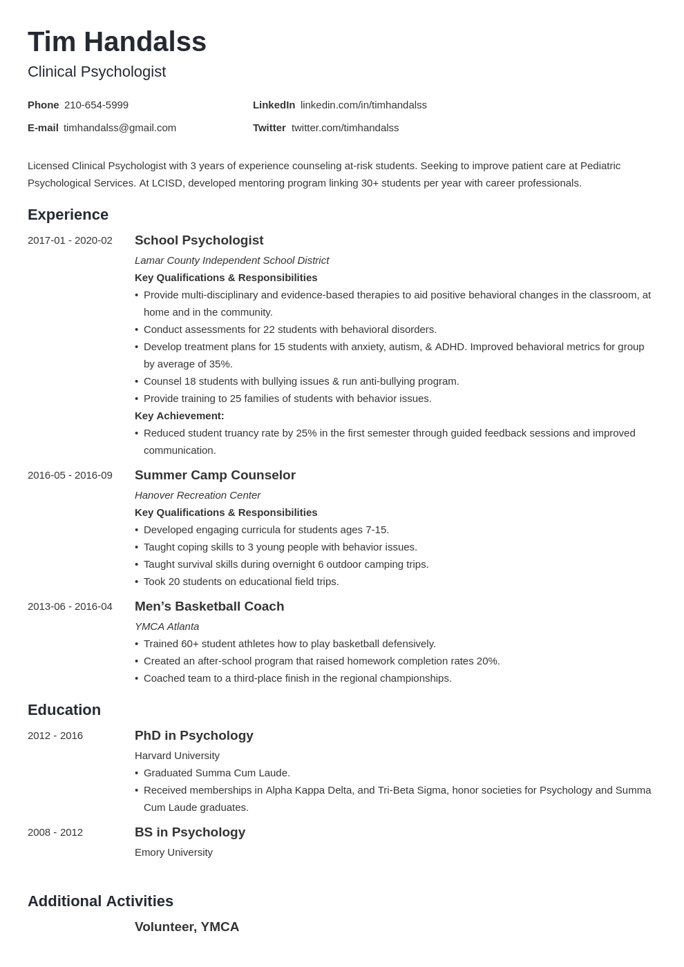 psychology resume example template minimo