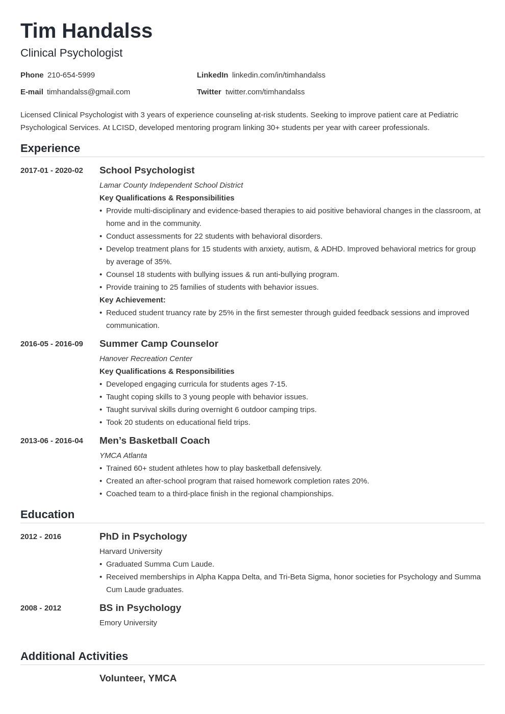 psychology resume example template nanica