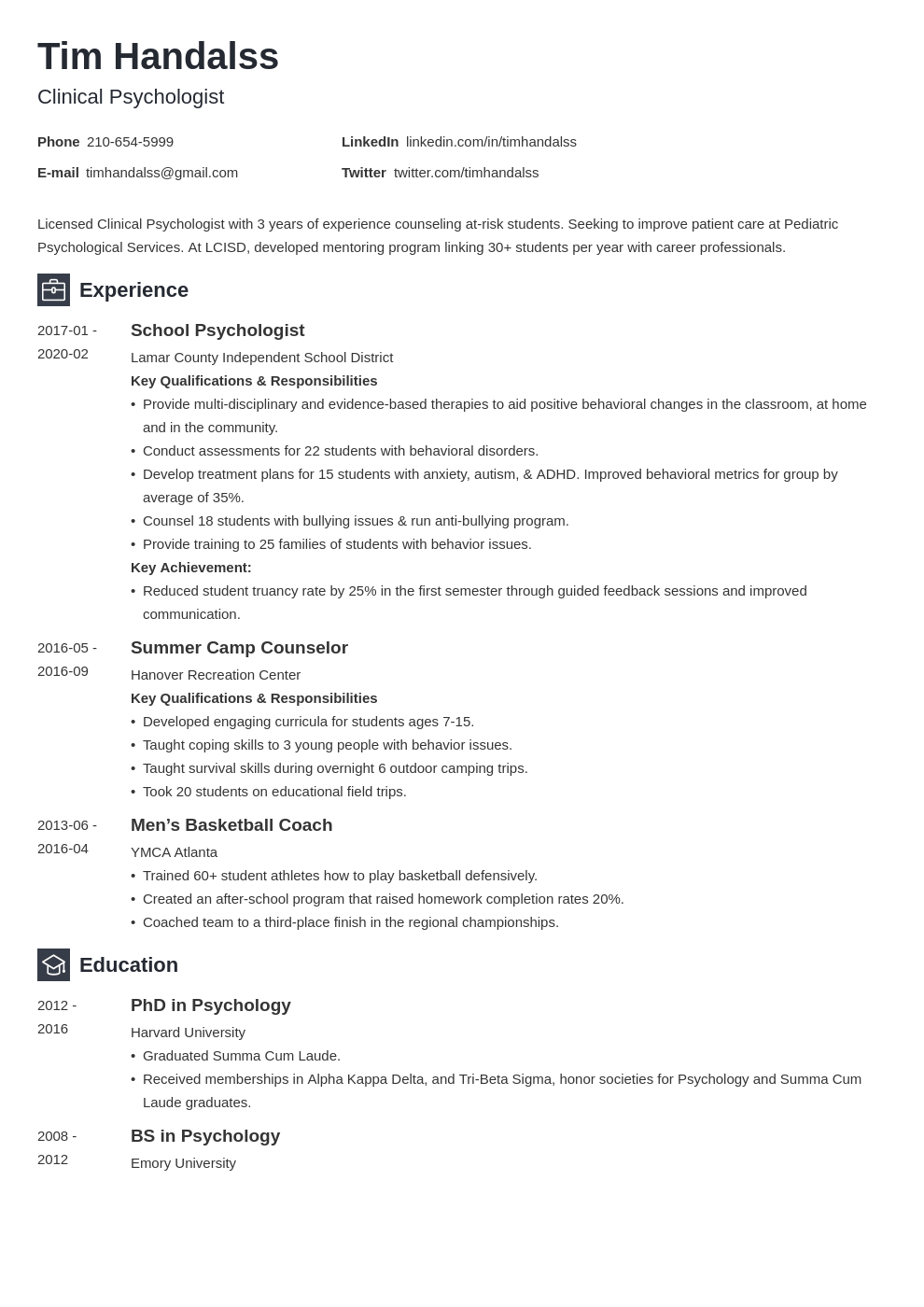 psychology resume example template newcast