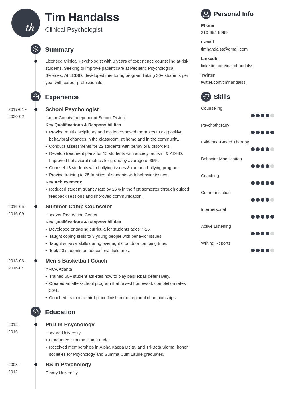 psychology resume example template primo
