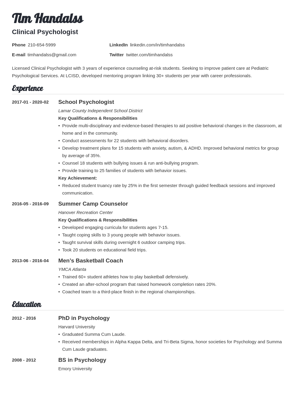 psychology resume example template valera