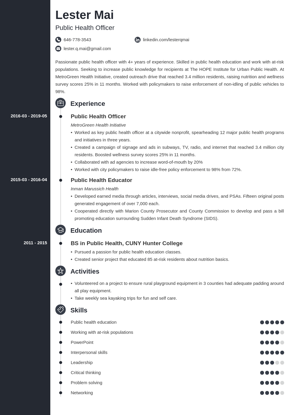 public health resume example template concept