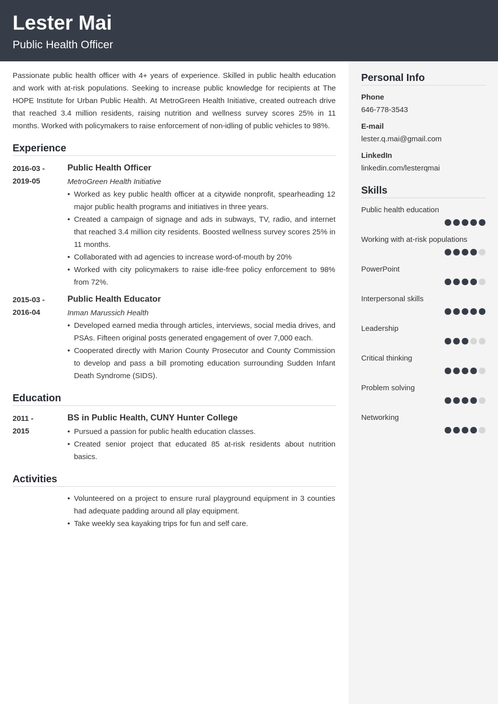 public health resume example template cubic