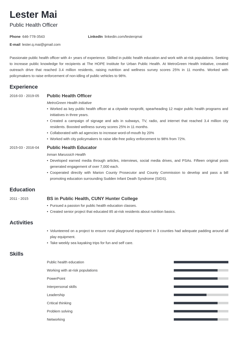 public health resume example template minimo