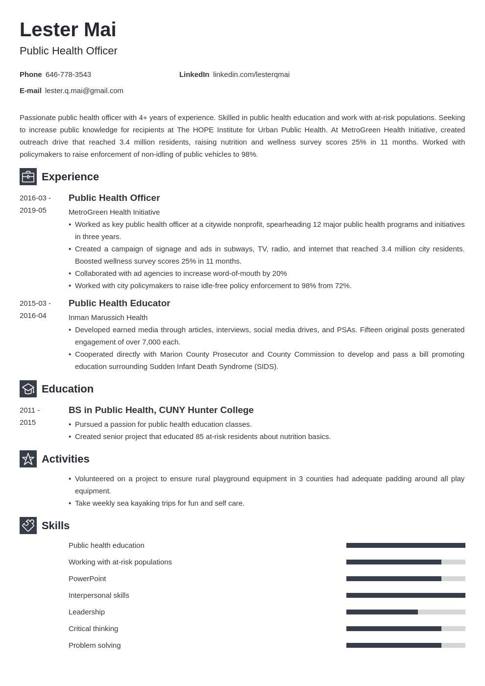 public health resume example template newcast