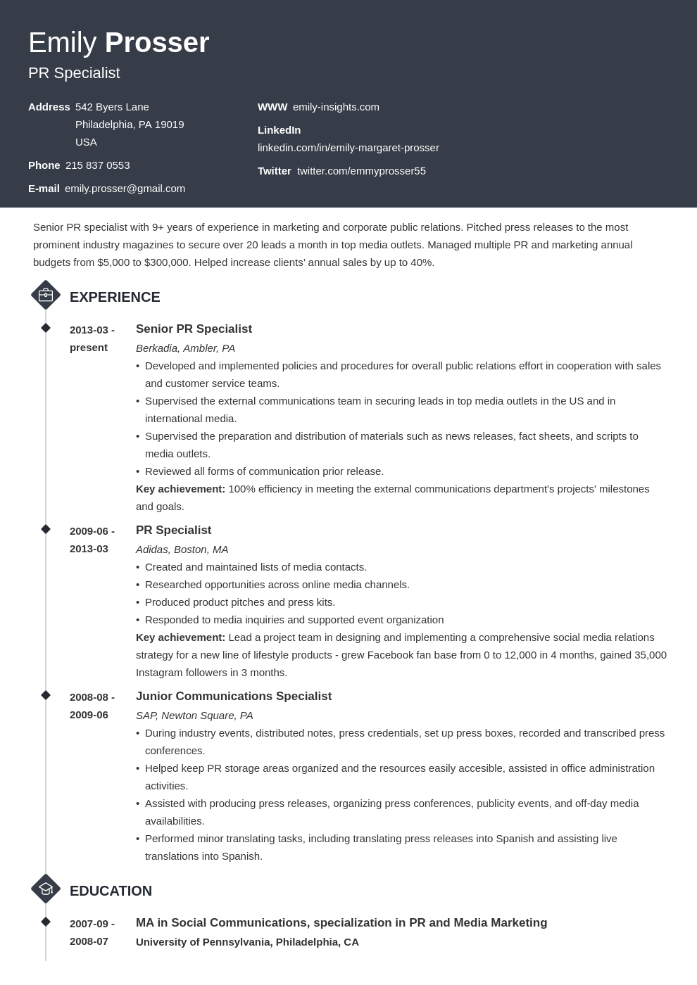 public relations resume example template diamond