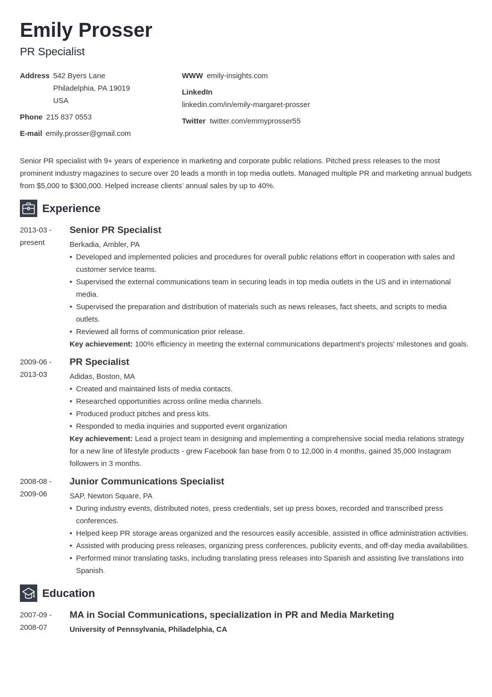 public relations resume example template newcast