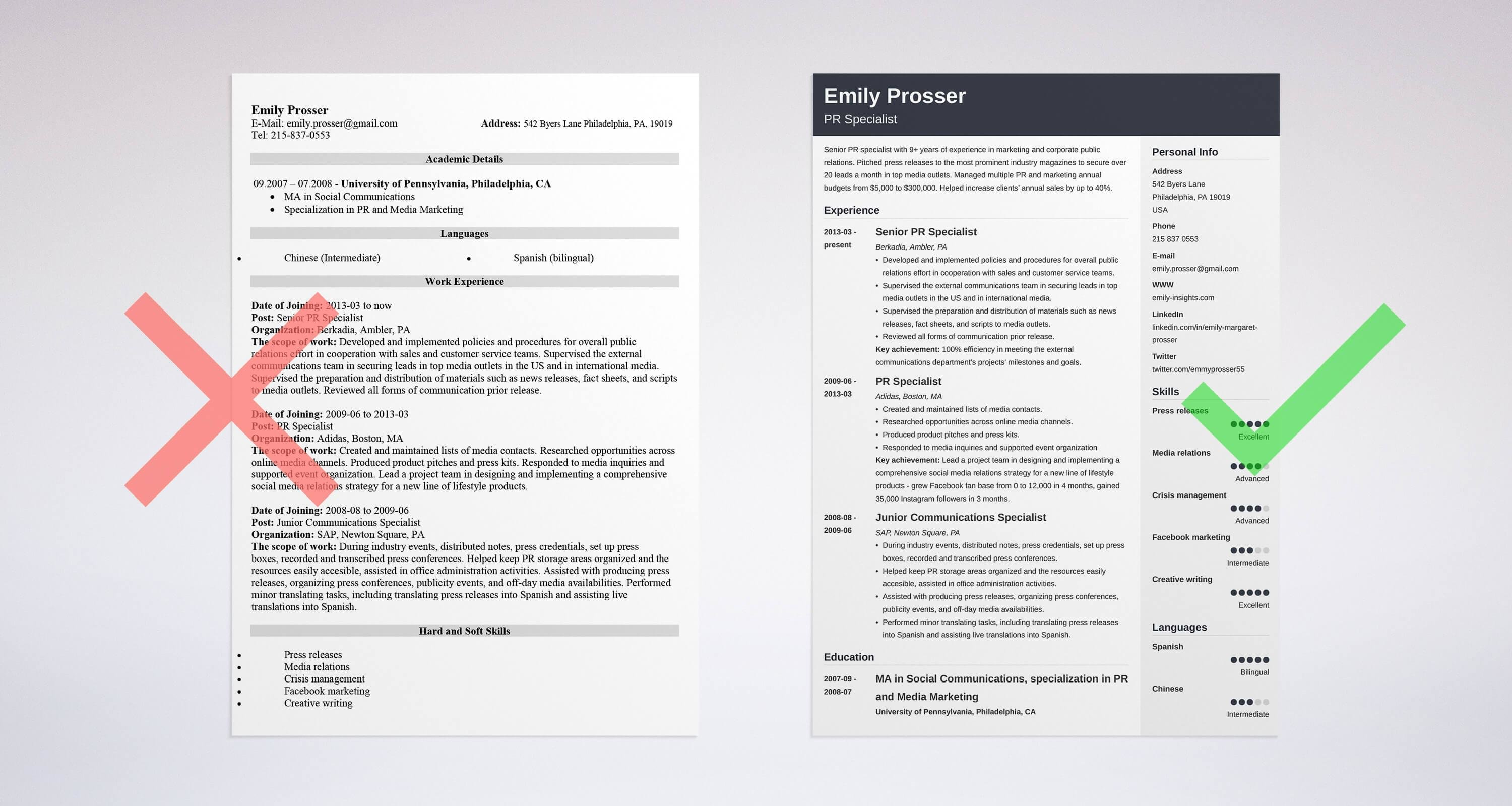 public relations sample resume