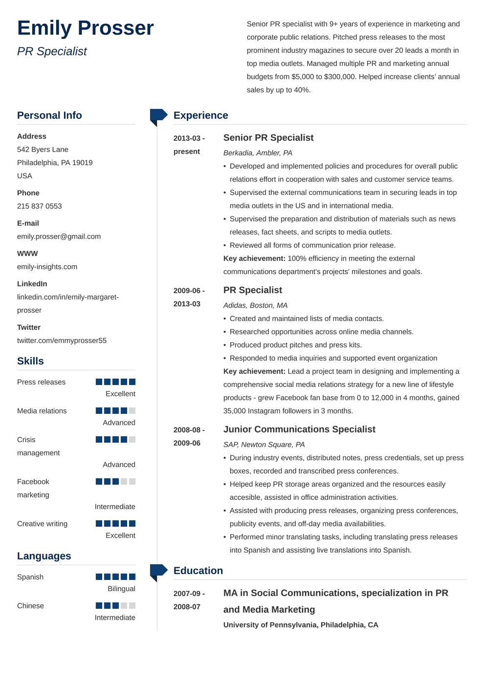 Public Relations Resume: Sample & Complete Guide [20+ Examples]