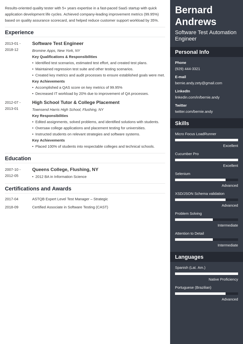 qa resume example template enfold