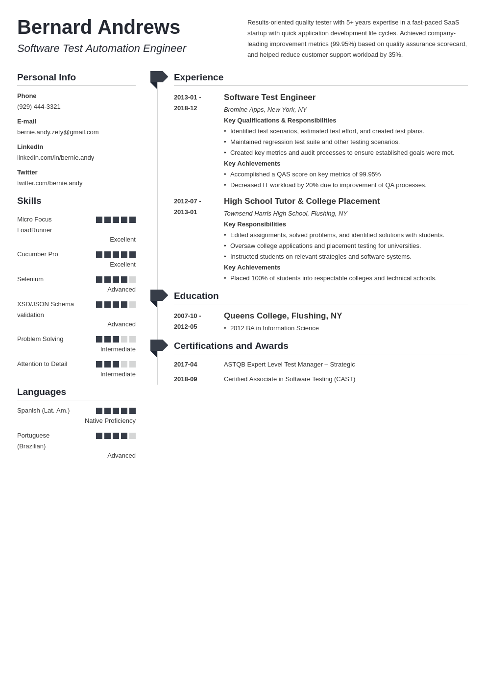 qa resume example template muse