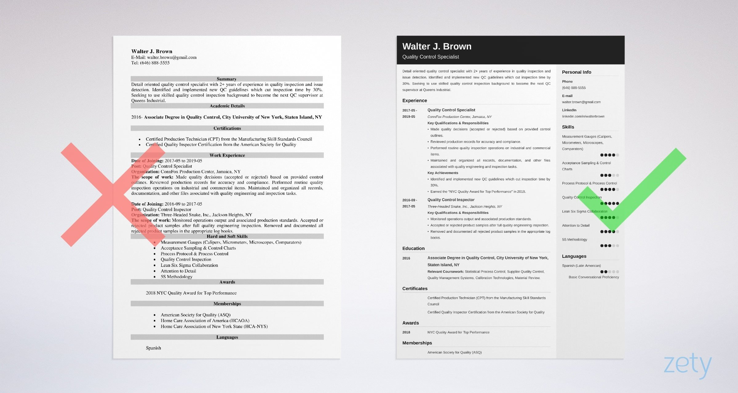 quality control resume templates