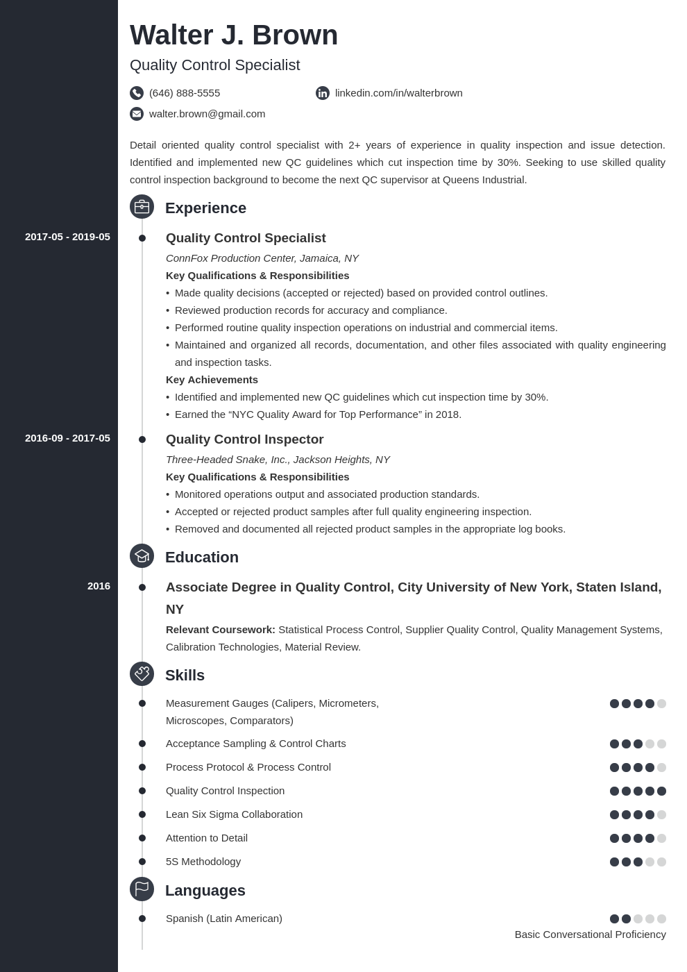 quality control resume example template concept