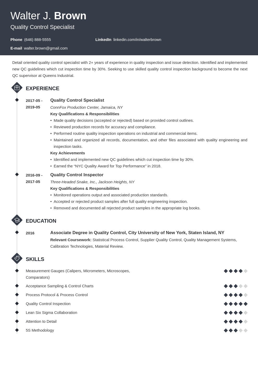 quality control resume example template diamond