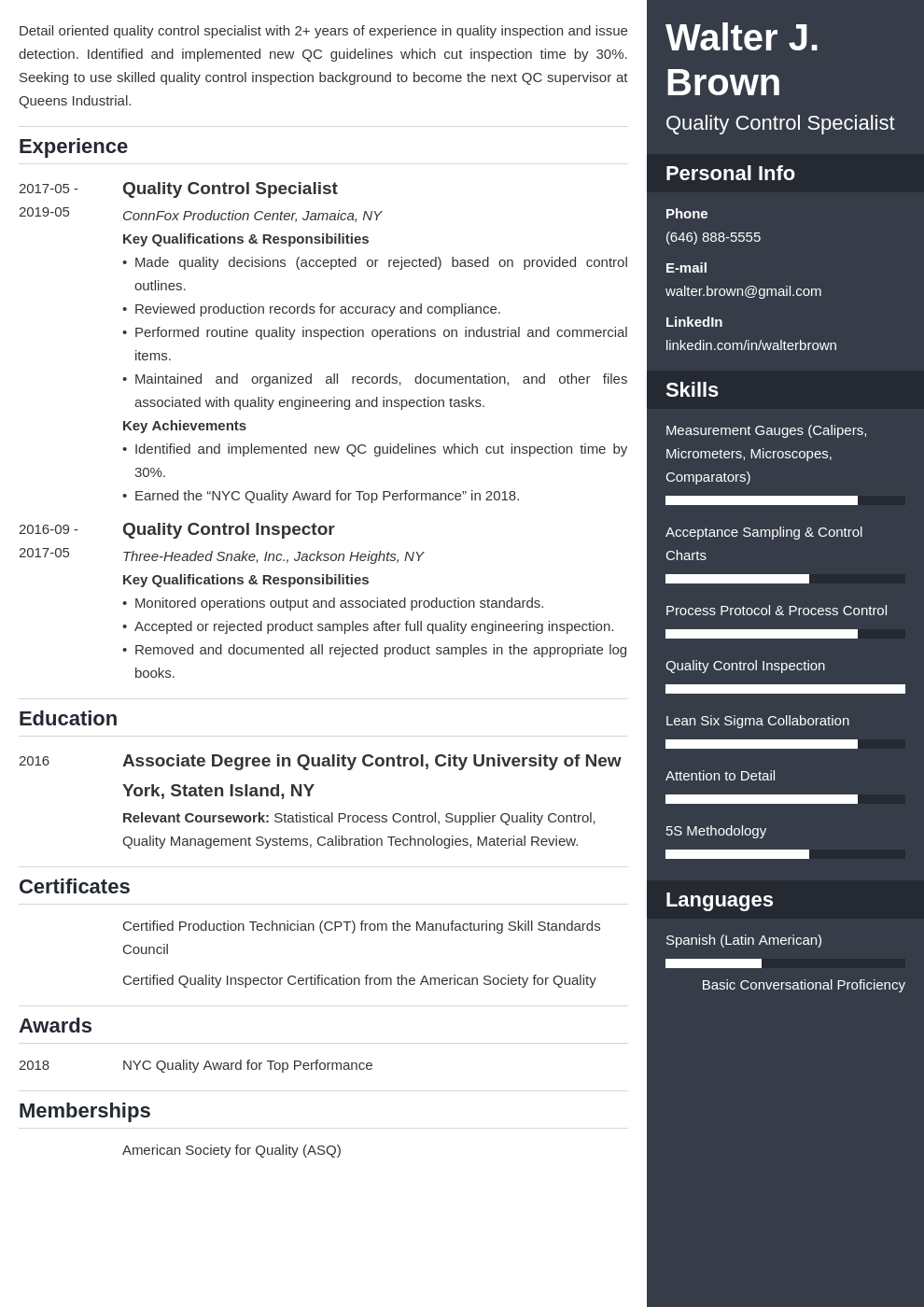 quality control resume example template enfold