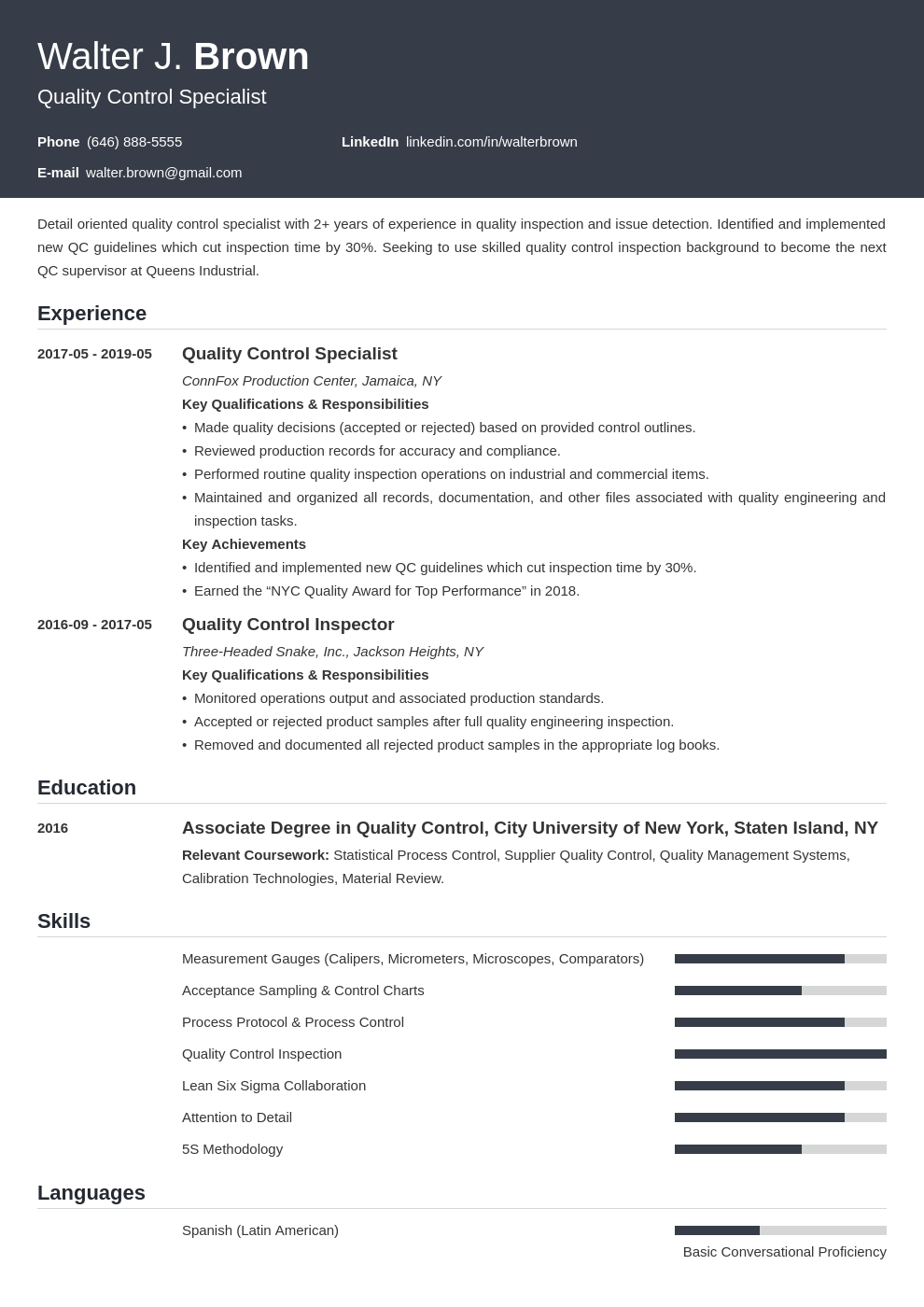 quality control resume example template influx