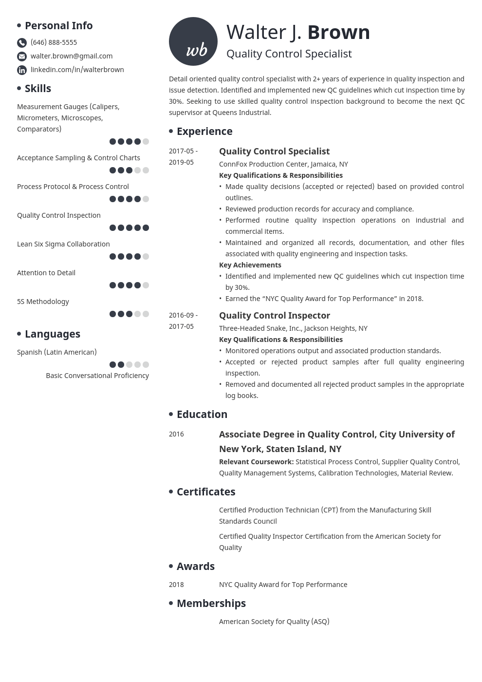 quality control resume example template initials